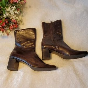 Etienne Aigner Brown Leather Heeled Boots Size 9M